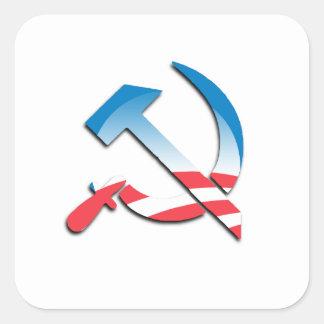Símbolo del comunista de Obama Pegatina Cuadrada