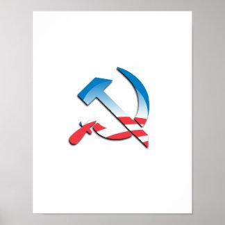 Símbolo del comunista de Obama Póster
