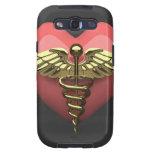 Símbolo del corazón con el símbolo médico (caduceo galaxy s3 fundas