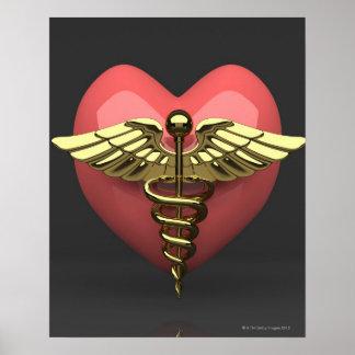 Símbolo del corazón con el símbolo médico (caduceo póster