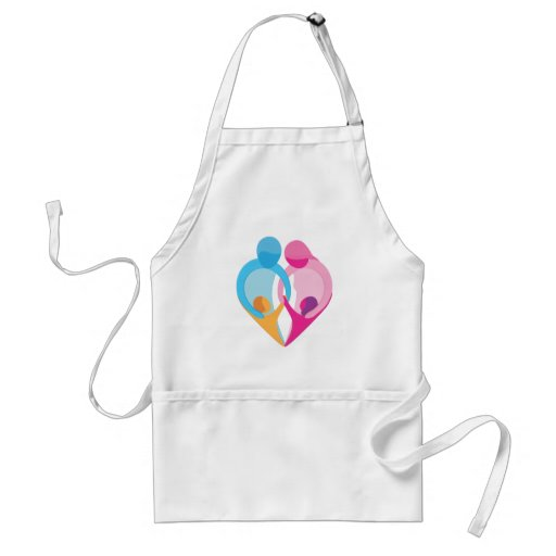 Símbolo del corazón del amor de la familia delantales