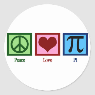 Símbolo del corazón pi del signo de la paz pegatina redonda