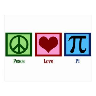 Símbolo del corazón pi del signo de la paz postales