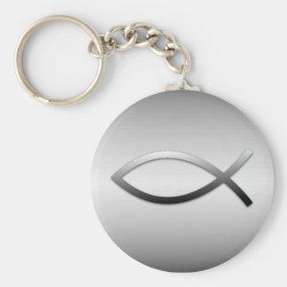 Símbolo del cristiano de los pescados de Ichthys Llavero Redondo Tipo Pin