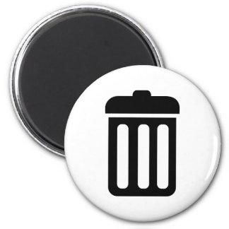 Símbolo del cubo de la basura imán redondo 5 cm