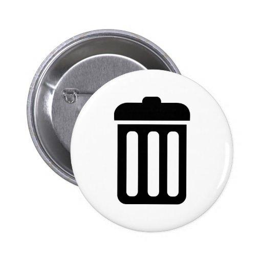 Símbolo del cubo de la basura pin
