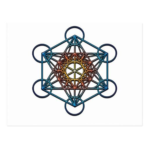 Símbolo del cubo de Metatron (pendiente azul amari Postales
