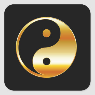 Símbolo del daoism Ying y de Yang del taoism Calcomanias Cuadradas