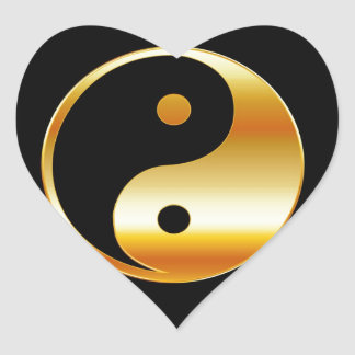 Símbolo del daoism Ying y de Yang del taoism Pegatinas Corazon Personalizadas