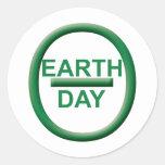 Símbolo del Día de la Tierra Etiquetas Redondas