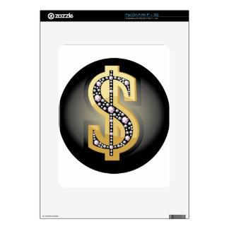 Símbolo del dólar en diamantes iPad skin