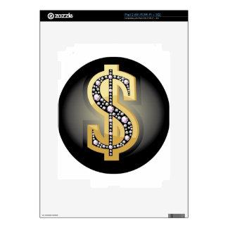 Símbolo del dólar en diamantes skins para iPad 2