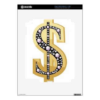 Símbolo del dólar en los diamantes 2 iPad 2 calcomanías
