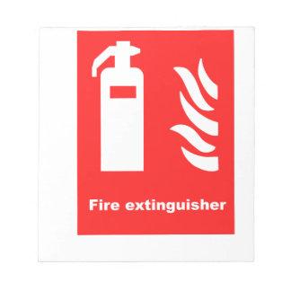 Símbolo del extintor libreta para notas