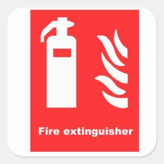 Símbolo del extintor pegatina cuadrada