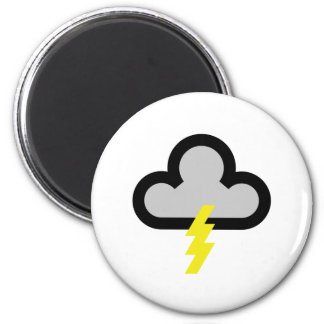 Símbolo del flash del relámpago del tiempo imán redondo 5 cm