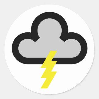 Símbolo del flash del relámpago del tiempo pegatina redonda