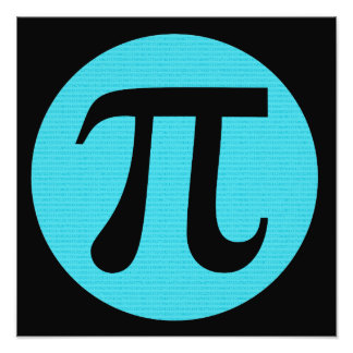 Símbolo del friki pi de la matemáticas, azul en cojinete