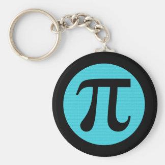 Símbolo del friki pi de la matemáticas, azul en llavero redondo tipo pin