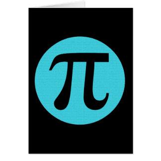 Símbolo del friki pi de la matemáticas, azul en tarjeta pequeña