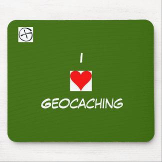 símbolo del geo, corazón, I, Geocaching Alfombrillas De Ratón