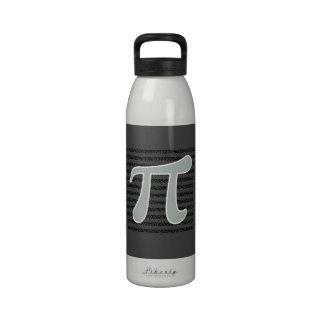 Símbolo del gris de ceniza pi botellas de agua reutilizables