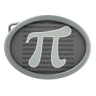 Símbolo del gris de ceniza pi hebillas cinturón ovales