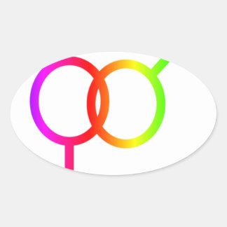 Símbolo del heterosexual del arco iris pegatina ovalada