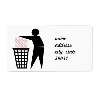 Símbolo del hombre de la basura (añada la foto) etiqueta de envío