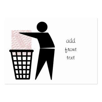 Símbolo del hombre de la basura (añada la foto) tarjetas de visita grandes