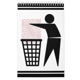 Símbolo del hombre de la basura (añada la foto) calendarios de pared