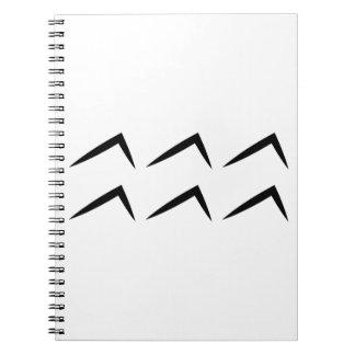 Símbolo del horóscopo de la astrología del acuario note book