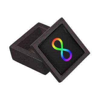 Símbolo del infinito del arco iris caja de recuerdo de calidad