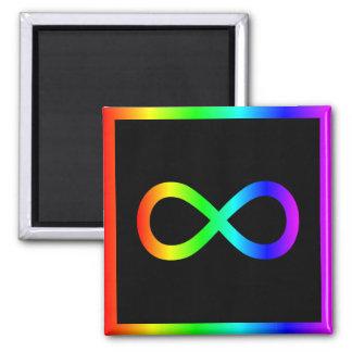 Símbolo del infinito del arco iris imán cuadrado