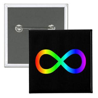 Símbolo del infinito del arco iris pin cuadrado