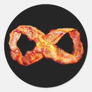 Símbolo del infinito del tocino pegatina redonda