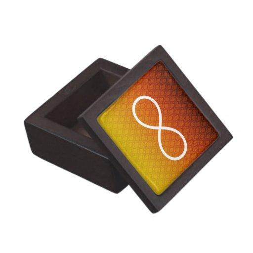 Símbolo del infinito en fondo de los damascos cajas de recuerdo de calidad