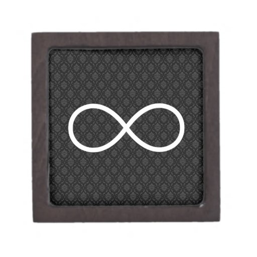 Símbolo del infinito en fondo negro de los caja de recuerdo de calidad
