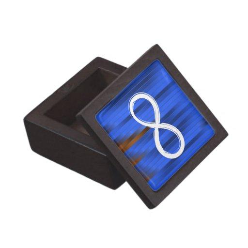 Símbolo del infinito en fondo rayado azul cajas de recuerdo de calidad