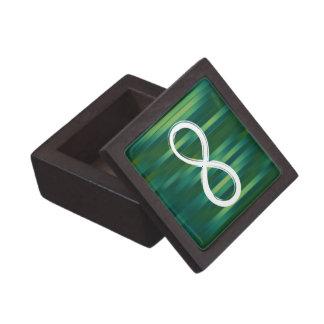Símbolo del infinito en fondo verde rayado caja de joyas de calidad
