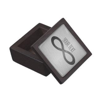 Símbolo del infinito en textura cepillada del meta cajas de regalo de calidad