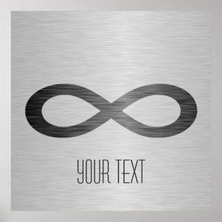 Símbolo del infinito en textura cepillada del meta posters