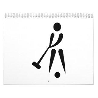 Símbolo del jugador del croquet calendario de pared