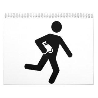 Símbolo del jugador del rugbi calendario
