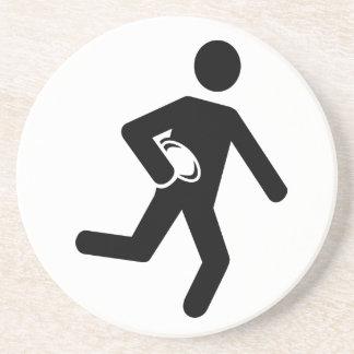 Símbolo del jugador del rugbi posavasos cerveza