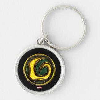 Símbolo del Loki de las obras clásicas el | de los Llavero Redondo Plateado