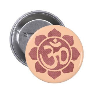 símbolo del loto del ohmio pin redondo 5 cm