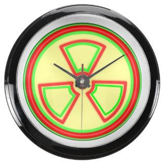 Símbolo del material radioactivo relojes aqua clock