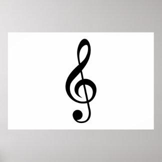 Símbolo del Musical del G-Clef del Clef agudo Póster