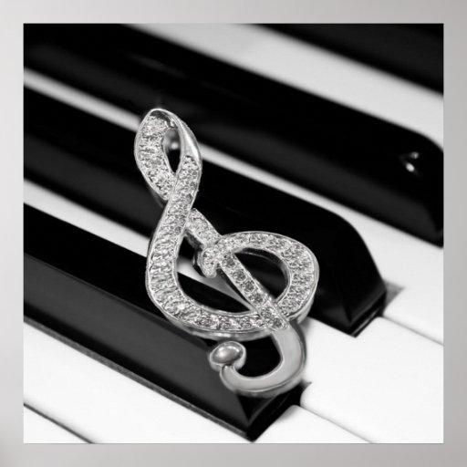 Símbolo del musical del piano póster